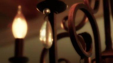 Beautiful iron chandelier — Stockvideo