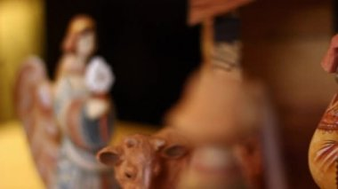 A beautiful hand carved and painted Nativity Creche — Stock Video