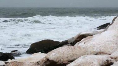 Winter scene of snow covered coast — Stock Video