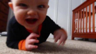 Baby crawls across a floor — Stock Video