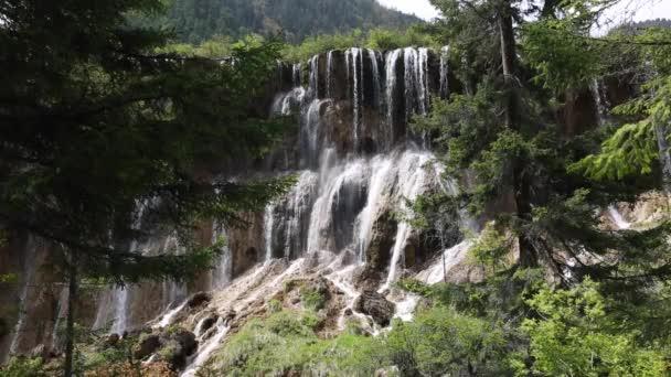 Hermosa cascada en el valle de Jiuzhaigou — Vídeo de stock