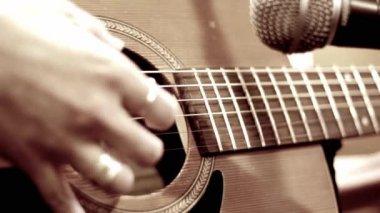 Close up Playing Guitar — Stock Video