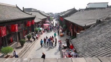 Chinese in ancient city of Pingyao, China — Stockvideo