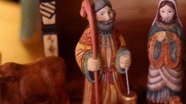 Hand carved Nativity Creche — Stok video
