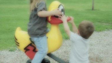 Children having fun at a park — Stock Video