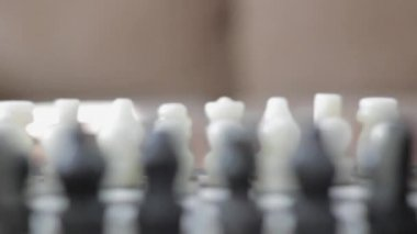 Hand carved marble chess board — Stock Video
