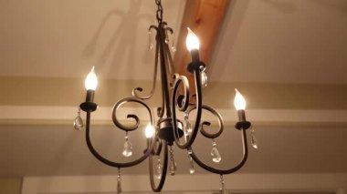 Beautiful chandelier in dining room — Video Stock