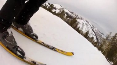 Man skiing in spring snow — Stock Video