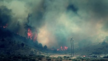 Raging wildfire burns across the mountain — Stock Video