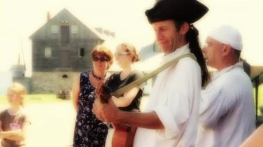 French Performers at Louisbourg Fort — Stock Video