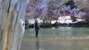 Fisherman fishing in the river — Stock Video