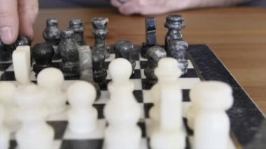 A handcarved marble chess board — Stock Video