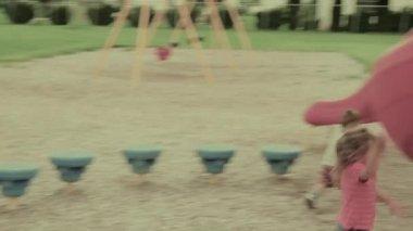 Children playing at playground — Stock Video