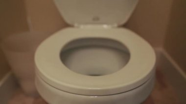 Hand lifting the toilet lid — Stockvideo