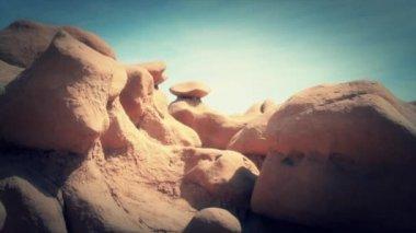 Rock formations in Goblin valley — Stock Video