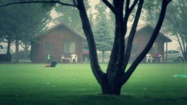Kids play soccer in rain — Stock Video