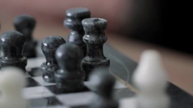 Old stone chess set — Stock Video
