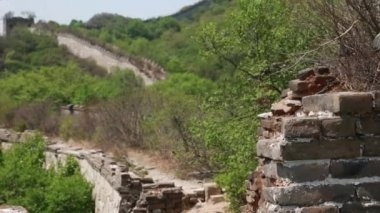 Old section of the great wall of china — Stock Video