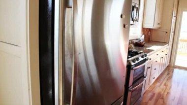 Man takes milk out of fridge — Stock Video