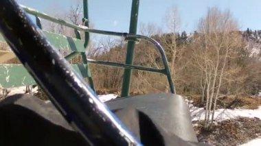 Man on ski chair lift — Stock Video