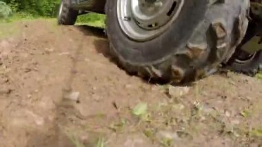 Rhino four wheeler driving on road — Stock Video
