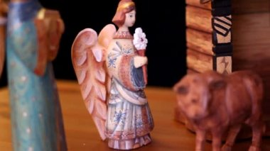 Hand carved nativity creche — Wideo stockowe