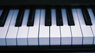 Close up on piano keys — Stock Video
