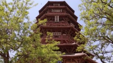 Pagoda of fogong temple — Stockvideo