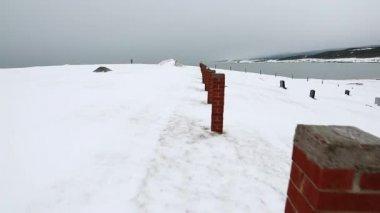 Small cemetery in winter — Stock Video