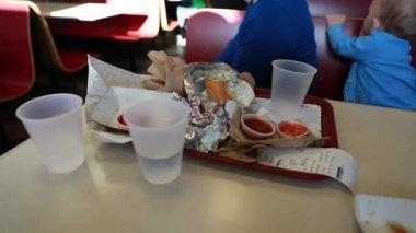 Trash at fast food restaurant — Stock Video