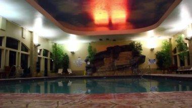 Pool area inside hotel — Stock Video
