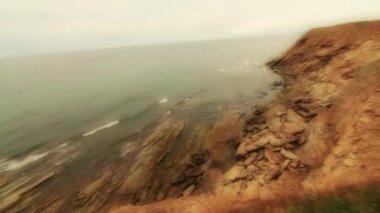 Cliffs along the coastline — Stock Video