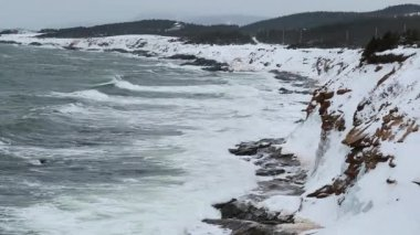 Snow covered coast and rough ocean waters — Stock Video