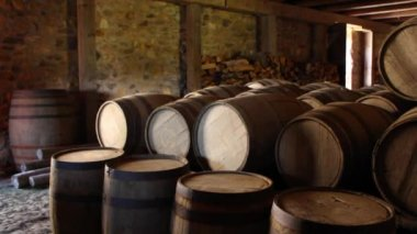 Barrels stored under the castle — Stock Video