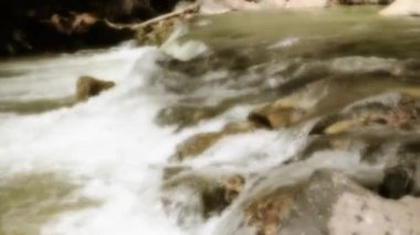 Small waterfall on the virgin river — Stock Video