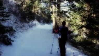 Kadın cross country kayak — Stok video