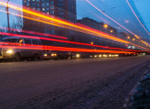 Dark Streetcar Streaks — Stock Photo