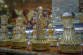 Gold Encrusted Chess Pieces — Stock Photo