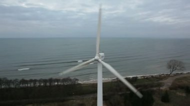 An aerial view of a wind farm — Stock Video