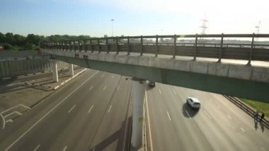 Aerial view of highway interchange in Moscow city — Stock Video