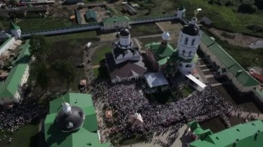 Aerial view of religious holiday — Stockvideo