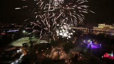 Night view and firework at Moscow city — Stock Video