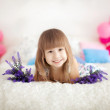 Little girl on the bed — Stock Photo #67648347