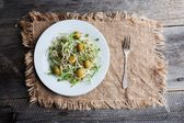 Healthy sprouts and olives salad — Stock Photo