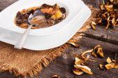 Dried mushroom soup — Stock Photo
