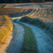 Sandy rural road and plowed fields — Stock Photo #67924815
