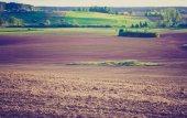 Vintage photo of plowed field — Stok fotoğraf