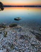 Lake landscape at sunset — Stock Photo
