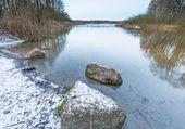 Winter river in forest — Fotografia Stock
