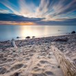 Rocky sea shore with driftwood at sunrise. Beautiful seascape — Stock Photo #70848221
